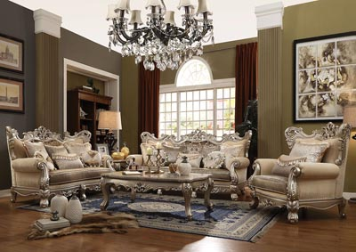 Ranita Champagne Upholstered 3 Piece Living Room Set