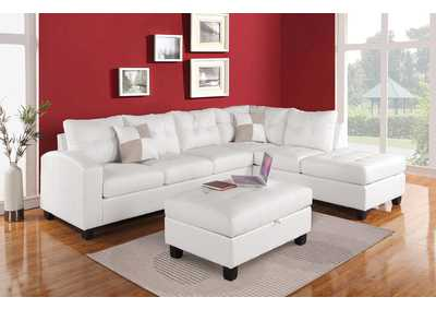 Kiva White Sectional Sofa w/2 Pillow
