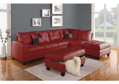 Kiva Red Sectional Sofa w/2 Pillow