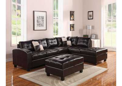 Kiva Black Sectional Sofa w/2 Pillow