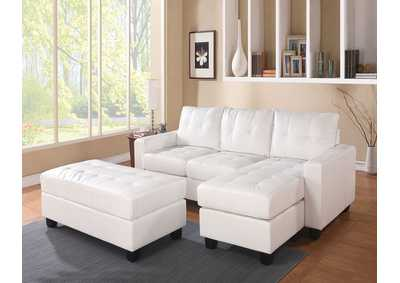 Lyssa White Sectional Sofa & Ottoman