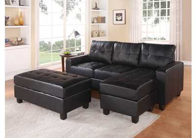 Lyssa Black Sectional Sofa & Ottoman