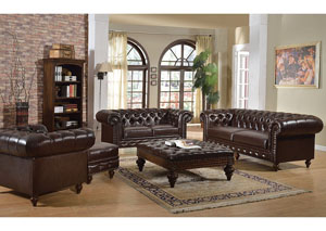 Shantoria Dark Brown Bonded Leather Sofa