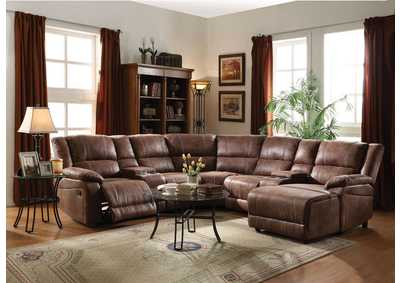 Zanthe II Two-Tone Brown Padded Suede Sectional Reclining Sofa
