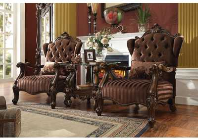 Image for Versailles Brown Velvet and Cherry Oak Sofa w/1 Pillows