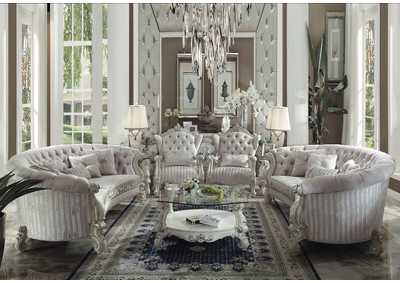 Versailles Ivory Velvet and Bone White Sofa w/5 Pillows