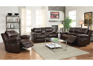 Xenos Dark Brown LeatherAire Reclining Motion Sofa