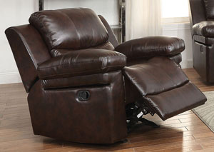 Xenos Dark Brown LeatherAire Motion Glider Recliner