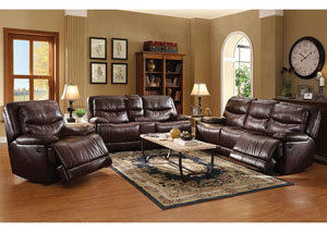 Cerviel Burgundy LeatherAire Power Motion Recliner
