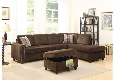 Image for Belville Chocolate Sectional Sofa w/Pillow