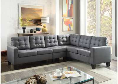 Earsom Gray Linen Sectional Sofa