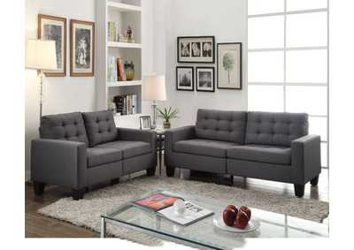 Earsom Gray Linen Loveseat