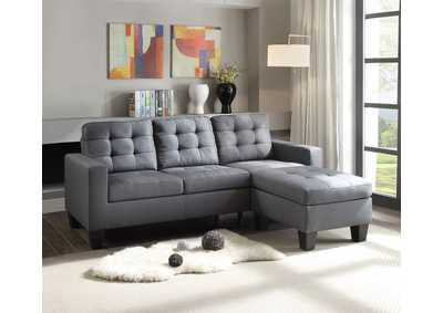 Earsom Gray Linen Sectional Sofa (Reversible Ottoman)