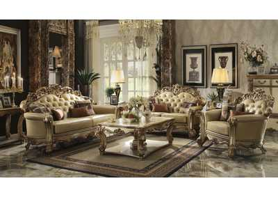 Vendome Gold Patina & Bone PU Sofa w/4 Pillows