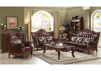 Eustoma Brown Top Grain Leather Match Sofa & Loveseat w/Pillows