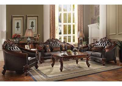 Vendome II 2Tone Dark Brown PU & Cherry Loveseat w/3 Pillows