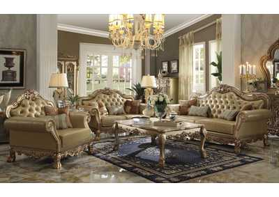 Dresden Gold Patina & Bone PU Sofa w/3 Pillows