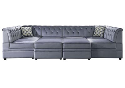 Bois II Grey Velvet Sleeper Sofa