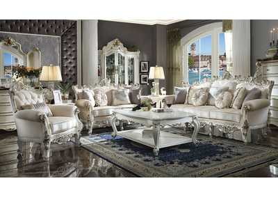 Picardy II Antique Pearl Upholstered Sofa and Loveseat