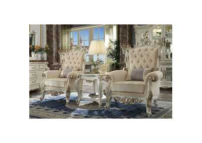 Picardy II Antique Pearl Accent Chair & Pillow