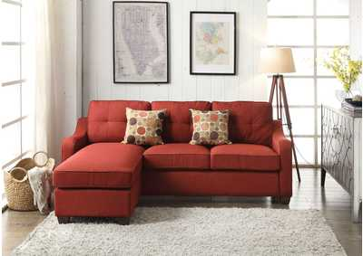 Cleavon II Red Linen Sectional Sofa w/Chaise & 2 Pillow (Reversible)