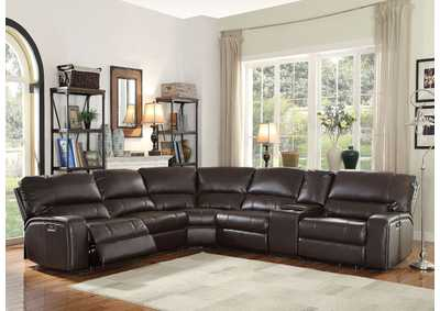 Image for Saul Espresso Sectional Sofa (Power Motion/USB)