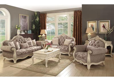 Image for Ragenardus Antique White/Gray Upholstered Sofa and Loveseat