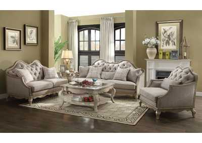 Chelmsford Beige Antique Taupe Sofa w/5 Pillow