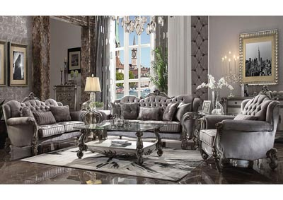 Versailles Antique Platinum Velvet Sofa & Loveseat