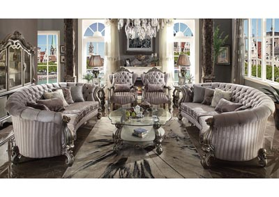Versailles Antique Platinum Velvet Crescent Sofa