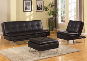 Fraiser Black Leather Adjustable Chair (Futon)