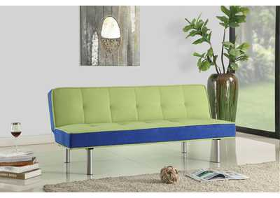 Hailey Green & Blue Flannel Adjustable Sofa