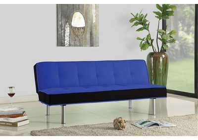 Hailey Blue & Black Flannel Adjustable Sofa
