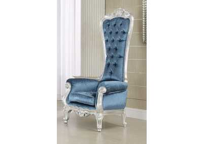 Raven Silver Frame & Blue Accent Chair