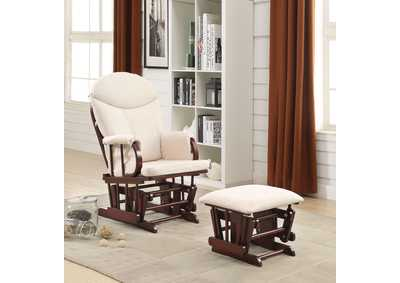 Image for Raul Beige & Cherry Chair and Ottoman (Set of 2)