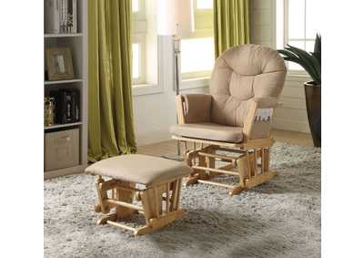Image for Rehan Taupe & Natural Oak Chair and Ottoman (Set of 2)
