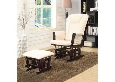 Image for Paola Beige & Espresso Chair and Ottoman (Set of 2)