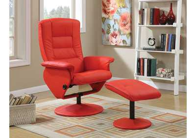 Image for Arche Red Chair and Ottoman (Set of 2)