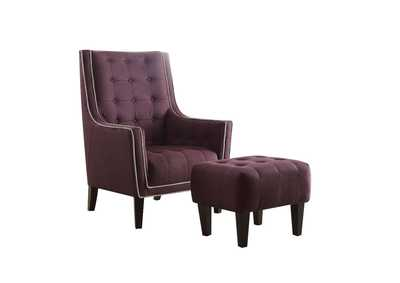 Image for Ophelia Purple Chair and Ottoman (Set of 2)
