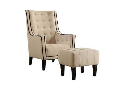 Image for Ophelia Cream Chair and Ottoman (Set of 2)