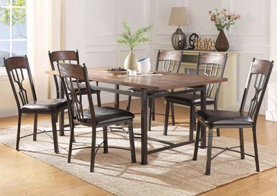 Lynlee Oak/Dark Bronze Rectangular Dining Table w/6 Side Chairs