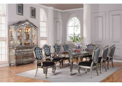 Chantelle Antique Platinum Dining Table w/6 Side Chairs & 2 Arm Chairs