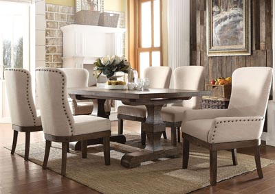 Landon Salvage Brown Rectangular Extension Dining Table w/2 Arm & 4 Side Chairs