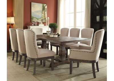 Image for Landon Salvage Brown Extendable Dining Table w/2 Arm & 6 Side Chair