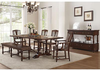 Tanner Cherry Rectangular Dining Table w/2 Arm Chairs, 2 Side Chairs & Dining Bench
