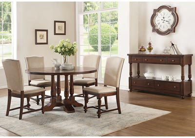 Tanner Cherry Round Dining Table w/4 Side Chairs