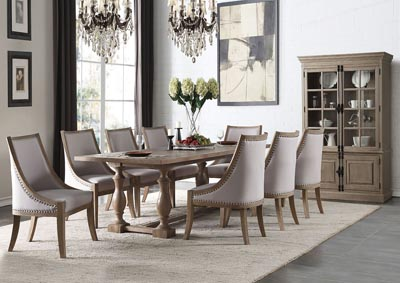 Eleonore Weathered Oak Rectangular Table w/8 Side Chairs