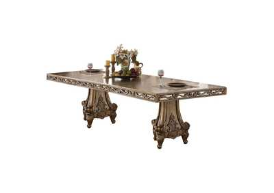 Orianne Antique Gold Rectangular Extension Dining Table w/10 Side Chairs