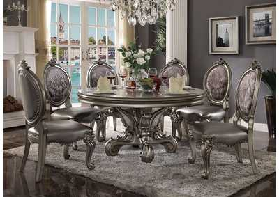 Versailles Antique Platinum Round Dining Table w/6 Side Chair