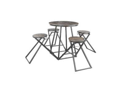 Image for Blaze Silver Rust 5 Piece Counter Height Dining Set